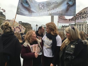 With Linda Tucker of Global White Lion Protection Trust at March for Lions